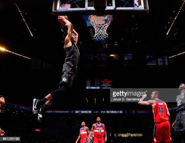 Jarrett Allen of the Brooklyn Nets dunks the ball against the Washington Wizards on December 12 2017 at Barclays Center in Brooklyn New York NOTE TO...