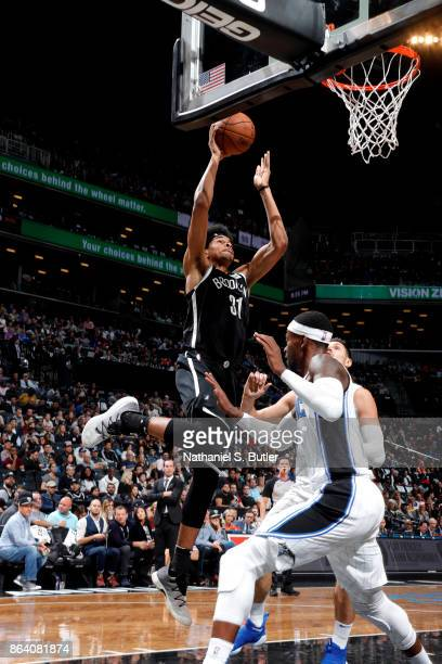 Jarrett Allen of the Brooklyn Nets dunks the ball against the Orlando Magic on October 20 2017 at Barclays Center in Brooklyn New York NOTE TO USER...