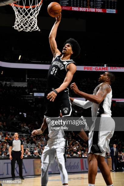 Jarrett Allen of the Brooklyn Nets dunks the ball against the San Antonio Spurs on December 19, 2019 at the AT&T Center in San Antonio, Texas. NOTE...