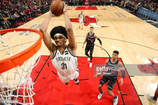 Jarrett Allen of the Brooklyn Nets dunks the ball during the game against the Chicago Bulls on January 6 2019 at the United Center in Chicago...