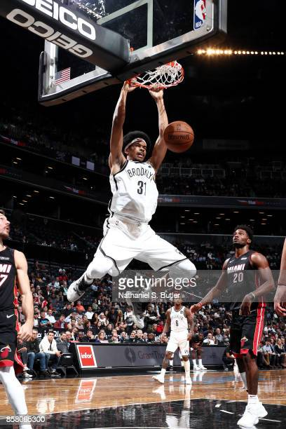 Jarrett Allen of the Brooklyn Nets dunks the ball during the game against the Miami Heat during a preseason game on October 5 2017 at Barclays Center...