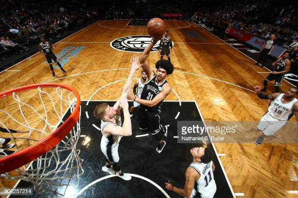 Jarrett Allen of the Brooklyn Nets dunks the ball during the game against the San Antonio Spurs on January 17 2018 at Barclays Center in Brooklyn New...