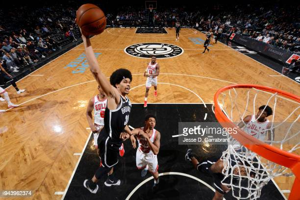 Jarrett Allen of the Brooklyn Nets dunks the ball during the game against the Chicago Bulls on April 9 2018 at Barclays Center in Brooklyn New York...