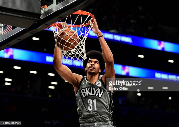 Jarrett Allen of the Brooklyn Nets dunks the ball during the second half of their game against the Houston Rockets at Barclays Center on November 01,...