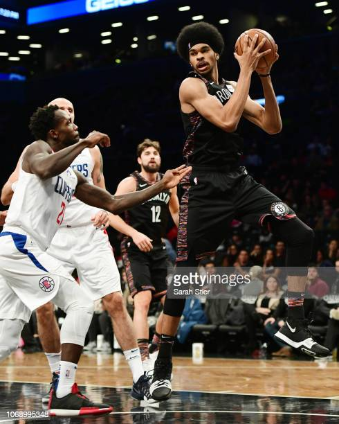 Jarrett Allen of the Brooklyn Nets gets the rebound during the game against LA Clippers at Barclays Center on November 17 2018 in New York City NOTE...