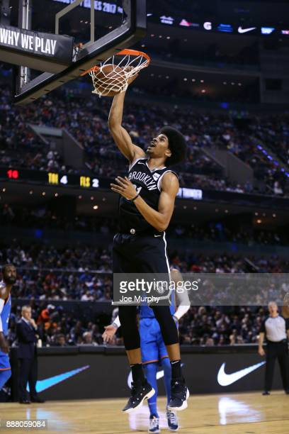 Jarrett Allen of the Brooklyn Nets goes to the basket against the Oklahoma City Thunder as part of the NBA Mexico Games 2017 on December 7 2017 at...