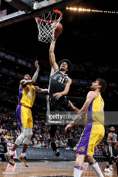 Jarrett Allen of the Brooklyn Nets goes up for a dunk against the Los Angeles Lakers on February 2 2018 at Barclays Center in Brooklyn New York NOTE...