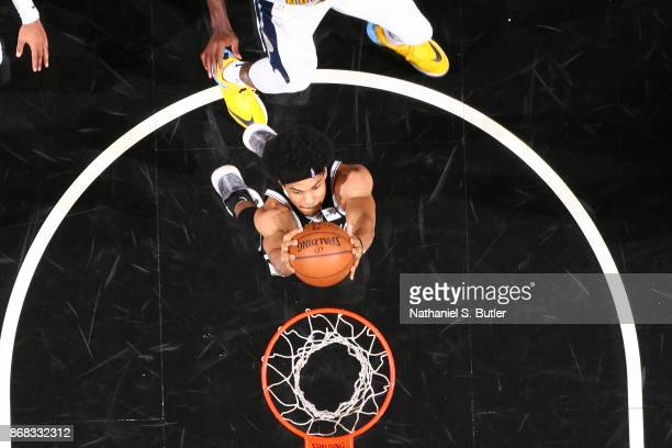 Jarrett Allen of the Brooklyn Nets goes up for a dunk against the Denver Nuggets on October 29 2017 at Barclays Center in Brooklyn New York NOTE TO...