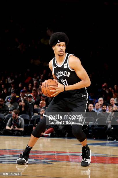 Jarrett Allen of the Brooklyn Nets handles the ball against the New York Knicks on October 12 2018 at Madison Square Garden in New York City New York...