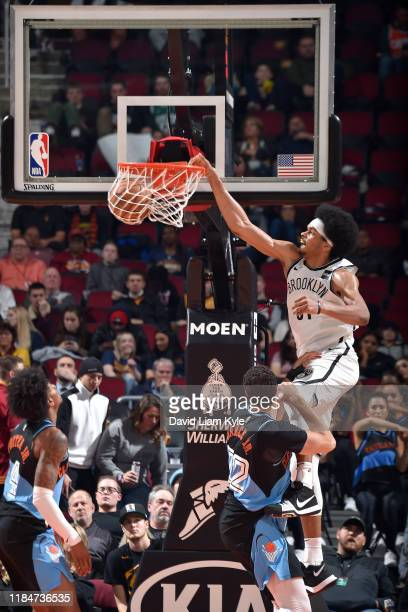 Jarrett Allen of the Brooklyn Nets handles the ball against the Cleveland Cavaliers on November 25, 2019 at Quicken Loans Arena in Cleveland, Ohio....
