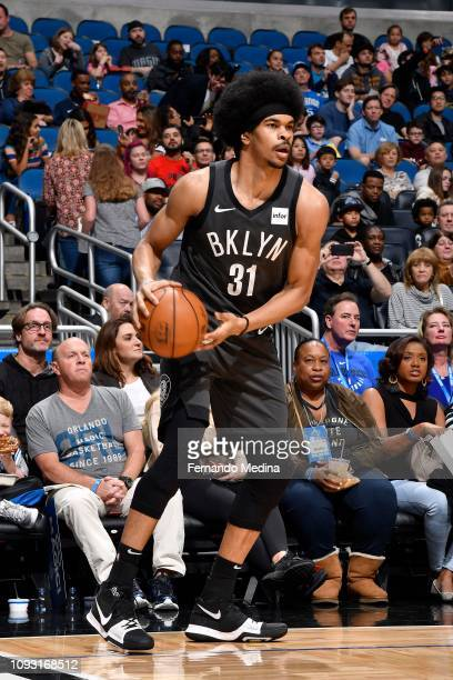 Jarrett Allen of the Brooklyn Nets handles the ball during the game against the Orlando Magic on February 2 2019 at Amway Center in Orlando Florida...