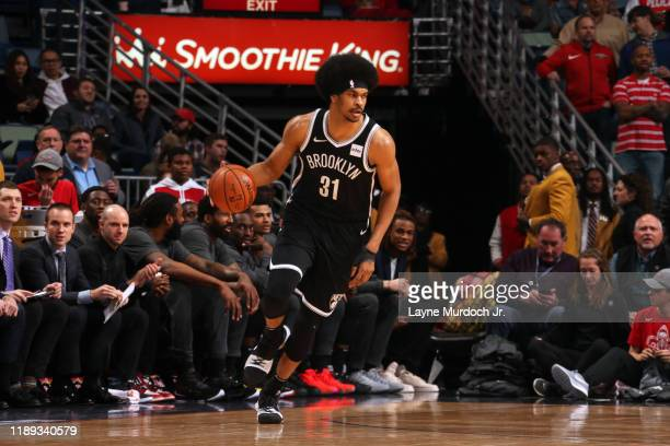 Jarrett Allen of the Brooklyn Nets handles the ball during the game against the New Orleans Pelicans on December 17, 2019 at the Smoothie King Center...