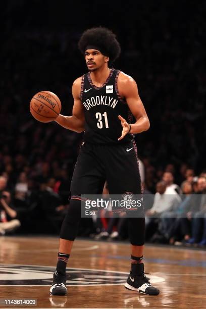 Jarrett Allen of the Brooklyn Nets handles the ball in the first quarter against the Philadelphia 76ers during game three of Round One of the 2019...