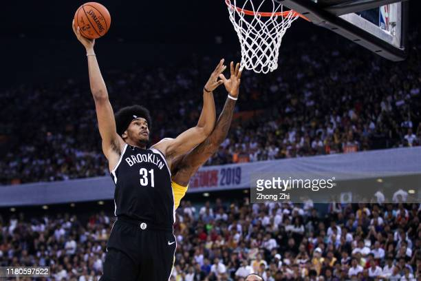 Jarrett Allen of the Brooklyn Nets in action during the match against LeBron James of the Los Angeles Lakers during a preseason game as part of 2019...
