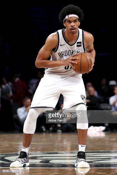 Jarrett Allen of the Brooklyn Nets looks down the court against the Miami Heat during their Pre Season game at Barclays Center on October 5 2017 in...