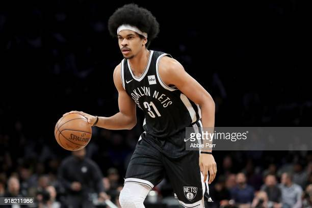 Jarrett Allen of the Brooklyn Nets looks down the court in the second quarter against the New Orleans Pelicans during their game at Barclays Center...