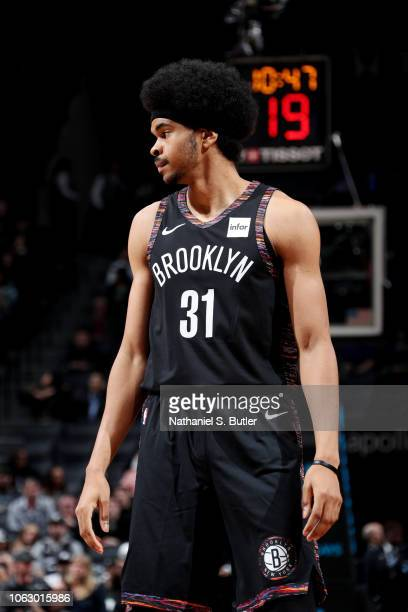 Jarrett Allen of the Brooklyn Nets looks on against the LA Clippers on November 17 2018 at Barclays Center in Brooklyn New York NOTE TO USER User...