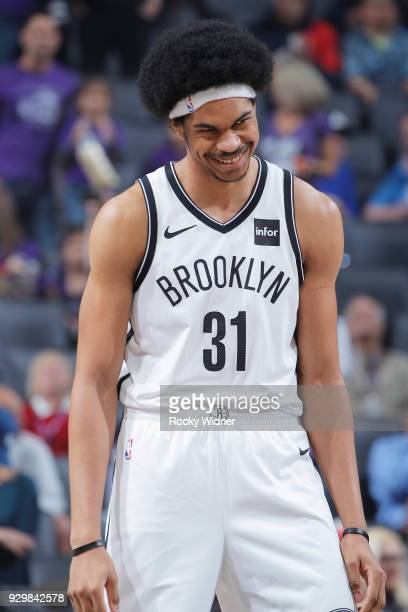 Jarrett Allen of the Brooklyn Nets looks on during the game against the Sacramento Kings on March 1 2018 at Golden 1 Center in Sacramento California...