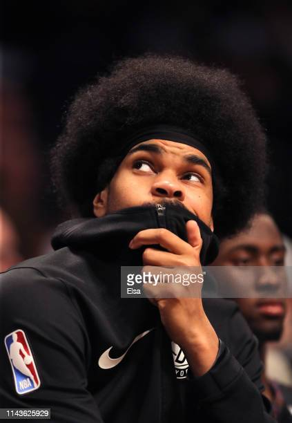 Jarrett Allen of the Brooklyn Nets looks on late in the fourth quarter against the Philadelphia 76ers during game three of Round One of the 2019 NBA...