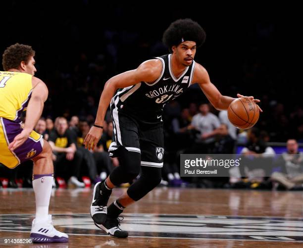 Jarrett Allen of the Brooklyn Nets moves with the ball in an NBA basketball game against the Los Angeles Lakers on February 2 2018 at Barclays Center...