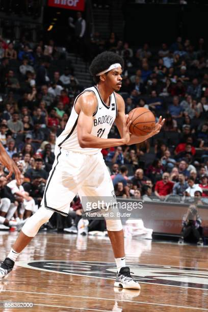 Jarrett Allen of the Brooklyn Nets passes the ball against the Miami Heat during a preseason game on October 5 2017 at Barclays Center in Brooklyn...