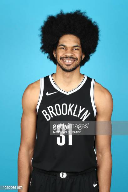 Jarrett Allen of the Brooklyn Nets poses for a head shot during NBA Content Day on December 9, 2020 at the Barclays Center in Brooklyn, New York....