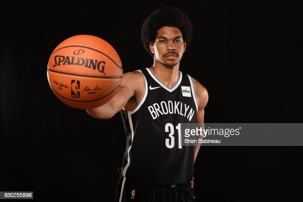 Jarrett Allen of the Brooklyn Nets poses for a photo during the 2017 NBA Rookie Photo Shoot at MSG training center on August 11 2017 in Tarrytown New...
