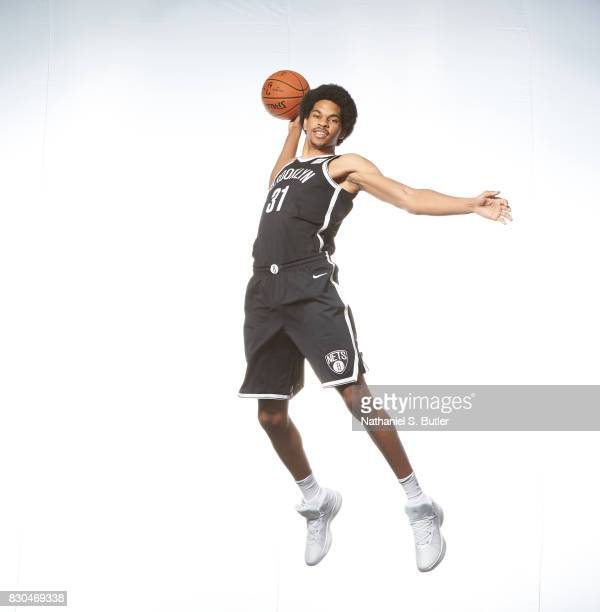 Jarrett Allen of the Brooklyn Nets poses for a photo during the 2017 NBA Rookie Shoot on August 11 2017 at the Madison Square Garden Training Center...