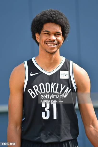 Jarrett Allen of the Brooklyn Nets poses for a portrait during the 2017 NBA rookie photo shoot on August 11 2017 at the Madison Square Garden...
