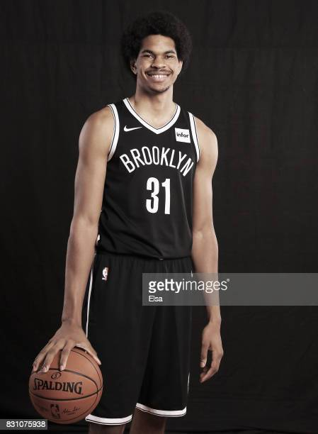 Jarrett Allen of the Brooklyn Nets poses for a portrait during the 2017 NBA Rookie Photo Shoot at MSG Training Center on August 11 2017 in Greenburgh...