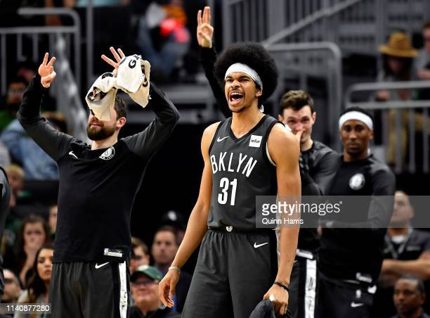 Jarrett Allen of the Brooklyn Nets reacts from the bench against the Milwaukee Bucks in the second half at Fiserv Forum on April 06 2019 in Milwaukee...