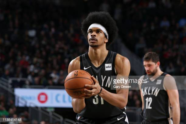 Jarrett Allen of the Brooklyn Nets shoots a freethrow against the Milwaukee Bucks on April 6 2019 at the Fiserv Forum Center in Milwaukee Wisconsin...