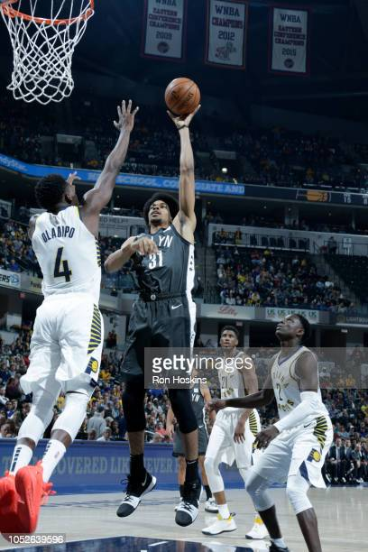 Jarrett Allen of the Brooklyn Nets shoots the ball against the Indiana Pacers during a game on October 20 2018 at Bankers Life Fieldhouse in...