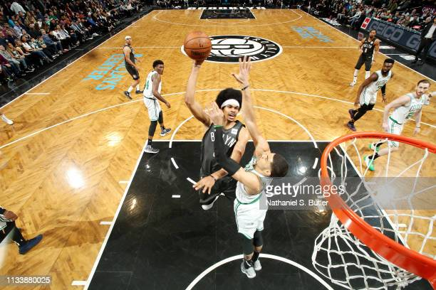 Jarrett Allen of the Brooklyn Nets shoots the ball against the Boston Celtics on March 30 2019 at Barclays Center in Brooklyn New York NOTE TO USER...