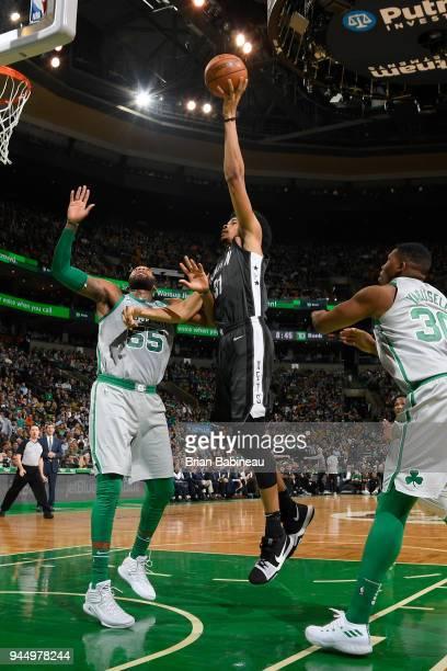 Jarrett Allen of the Brooklyn Nets shoots the ball against the Boston Celtics on April 11 2018 at the TD Garden in Boston Massachusetts NOTE TO USER...