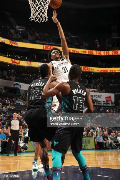 Jarrett Allen of the Brooklyn Nets shoots the ball against the Charlotte Hornets on February 22 2018 at Spectrum Center in Charlotte North Carolina...