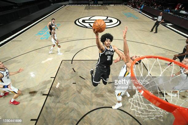 Jarrett Allen of the Brooklyn Nets shoots the ball during the game against the Utah Jazz on January 5, 2021 at Barclays Center in Brooklyn, New York....