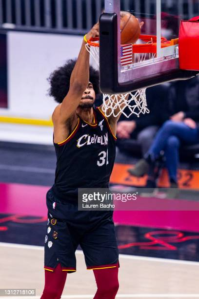 Jarrett Allen of the Cleveland Cavaliers dunks the ball against the Golden State Warriors at Rocket Mortgage Fieldhouse on April 15, 2021 in...
