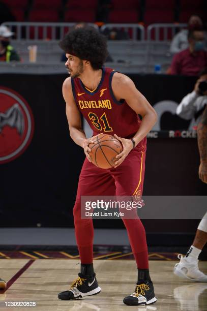 Jarrett Allen of the Cleveland Cavaliers handles the ball during the game against the Minnesota Timberwolves on February 1, 2021 at Rocket Mortgage...