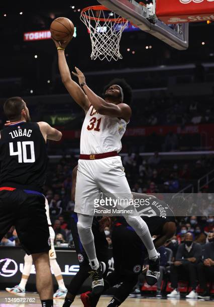 Jarrett Allen of the Cleveland Cavaliers takes a shot against Ivica Zubac of the LA Clippers in the first quarter at Staples Center on October 27,...