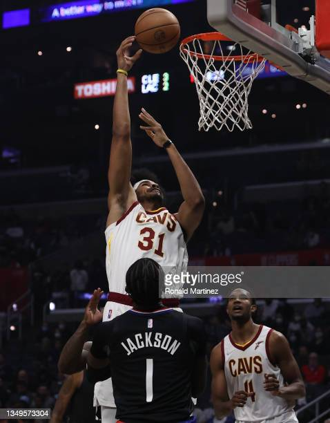 Jarrett Allen of the Cleveland Cavaliers takes a shot against Reggie Jackson of the LA Clippers in the first quarter at Staples Center on October 27,...
