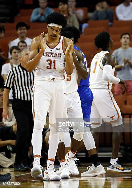 Jarrett Allen of the Texas Longhorns reacts after being fouled while shoot against the TexasArlington Mavericks at the Frank Erwin Center on November...