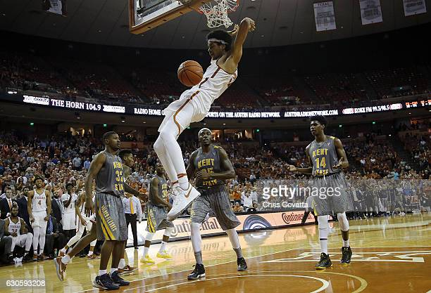 Jarrett Allen of the Texas Longhorns slam dunks against the Kent State Golden Flashes at the Frank Erwin Center on December 27, 2016 in Austin, Texas.