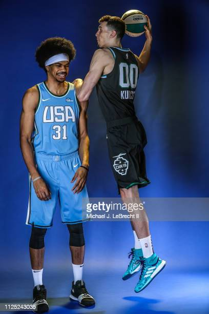 Jarrett Allen of the US Team of the World Team and Rodions Kurucs of the World Team pose for a Portrait prior to the 2019 Mtn Dew ICE Rising Stars...
