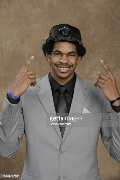 Jarrett Allen poses for a portrait after being selected twentytwo overall by the Brooklyn Nets during the 2017 NBA Draft on June 22 2017 at Barclays...