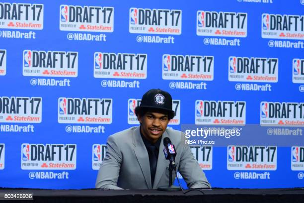 Jarrett Allen speaks with the media after being selected 22nd overall by the Brooklyn Nets at the 2017 NBA Draft on June 22, 2017 at Barclays Center...