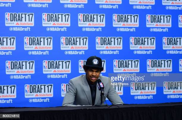 Jarrett Allen talks to the media after being selected 22nd overall at the 2017 NBA Draft on June 22 2017 at Barclays Center in Brooklyn New York NOTE...