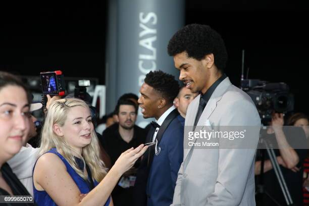 Jarrett Allen talks with the media on the red carpet prior to the 2017 NBA Draft on June 22 2017 at Barclays Center in Brooklyn New York NOTE TO USER...