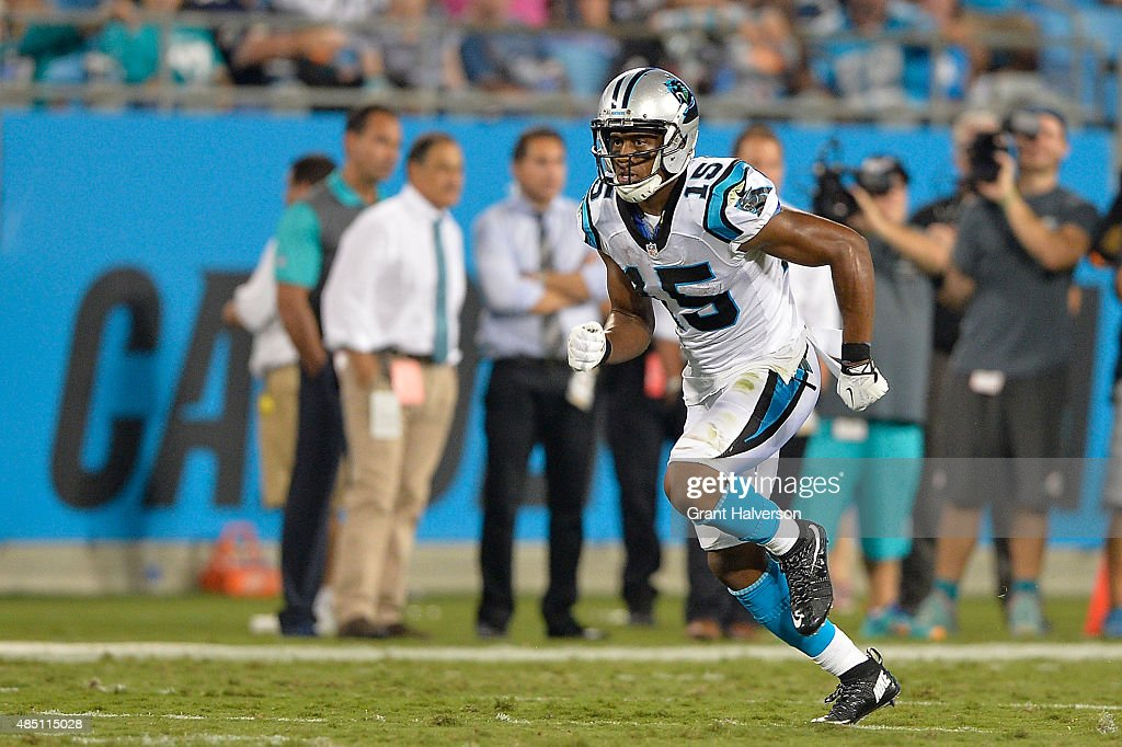 Jarrett Boykin #15 of the Carolina Panthers against the Miami Dolphins during their preseason NFL game at Bank of America Stadium on August 22, 2015 in Charlotte, North Carolina.