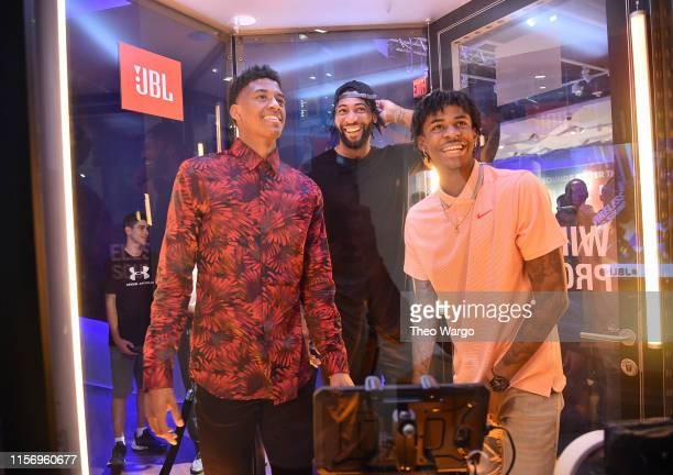 Jarrett Culver draftee and JBL panelist Andre Drummond NBA star and JBL ambassador and Ja Morant draftee and JBL Partner as they take in the JBL...